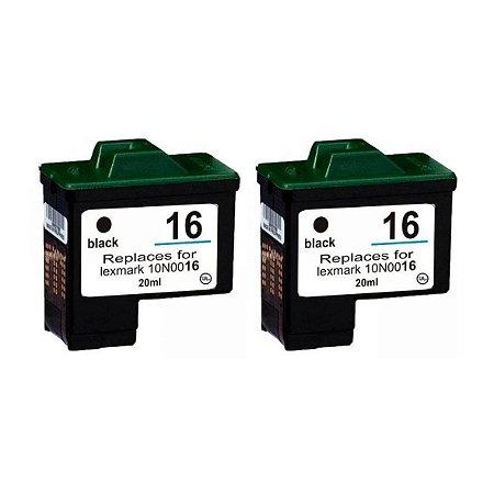 Kit 2 Cartuchos de Tinta Compativel Lexmark 16/17 Preto 15ml
