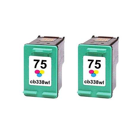 Kit 2 Cartuchos de Tinta Compativel HP 75xl (CB338) Colorido 14ml