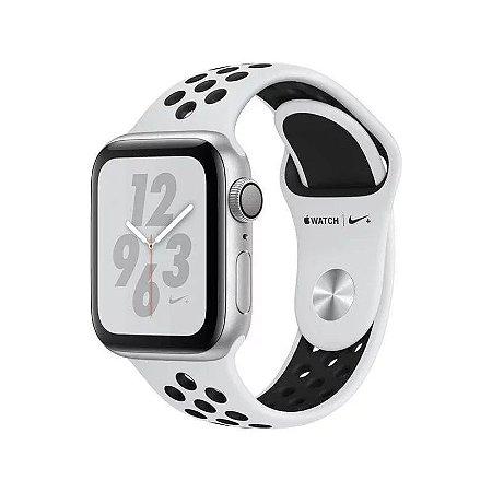 Apple Watch Series 4 Nike 40MM - Pulseira Esportiva Prata com Preto