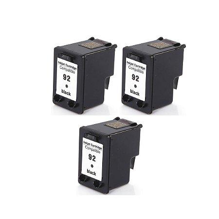 Kit 3 Cartuchos de Tinta Compativel HP 92 (9362) Preto 13ml