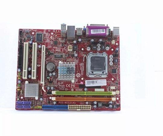 PLACA MÃE 775 DUAL CORE 2GB DDR2 MIG31AG