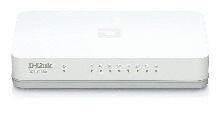 Switch 8 portas Gigabit Ethernet 10/100 Mbps DGS-1008A D-Link