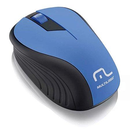 Mouse sem fio Mo215 2.4GHz Preto e Azul Usb - Multilaser