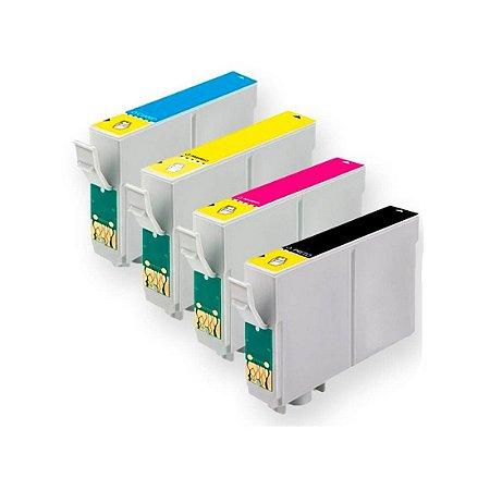 Kit 04 Cartuchos de Tinta Epson To631 To632 To633 To634 Compatível Preto + Colorido