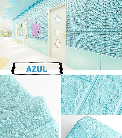 Painel de Tijolinho 3D Azul, Autocolantes, Laváveis, Espessura 6mm- 70x77cm