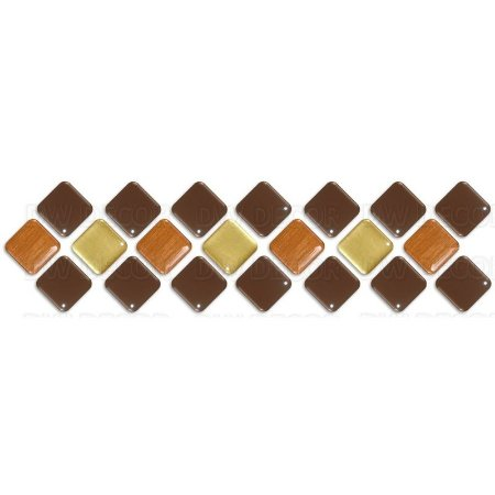 Pastilhas Adesiva Resinada, Faixa Diagonal Marrom, Ouro e Bronze, Faixa 30x8cm
