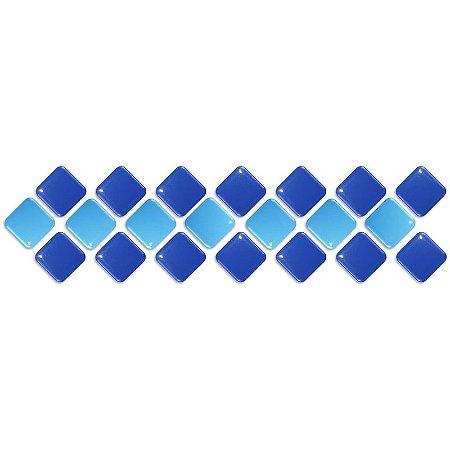 Pastilhas Adesiva Resinada, Faixa Diagonal, Azul marinho e Azul céu, Faixa 30x8cm