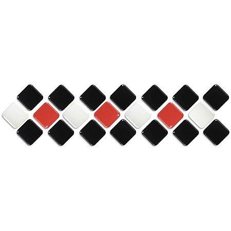 Pastilhas Adesiva Resinada, Faixa Diagonal, Preto, branco e vermelho, Faixa 30x8cm