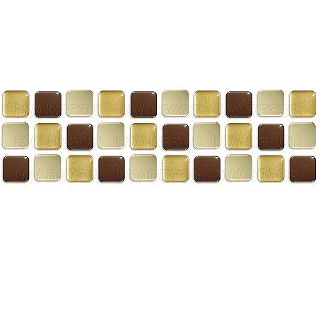 Pastilhas Adesiva Resinada, Faixa Tripla, Marrom, Bege e Ouro