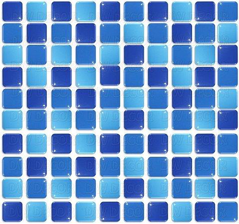 Pastilhas Adesiva Resinada, Placa 30cm, Azul Médio, Azul Marinho e Azul céu