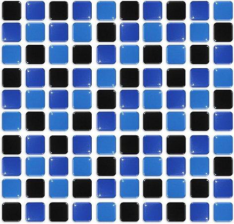 Pastilhas Adesiva Resinada, Placa 30cm, Azul Médio, Azul Marinho e Preto