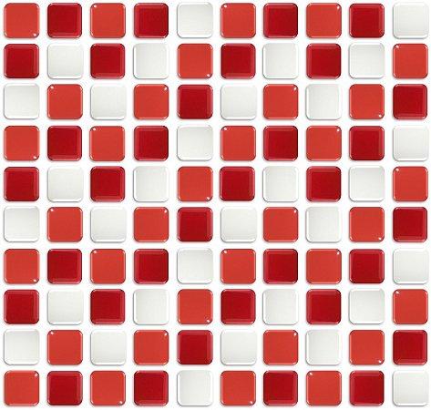 Pastilhas Adesiva Resinada, Placa 30cm, Vermelho Vivo, Intenso e Branco