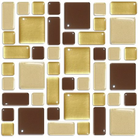 Pastilhas Adesiva Resinada, Placa Geométrica 30cm, Marrom, Bege e Ouro