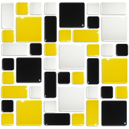 Pastilhas Adesiva Resinada, Placa Geométrica 30cm, Preto, Amarelo Médio e Branco