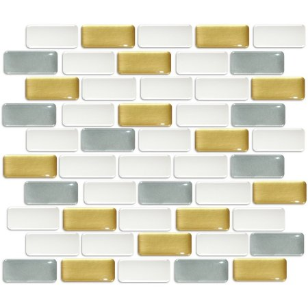 Pastilhas Adesiva Resinada, Placa Tijolinho 30cm, Ouro, Prata e Branco