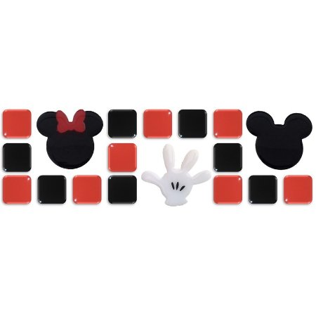 Pastilhas Adesivas Resinadas, Tema do Mickey, Faixa 28x9cm - Preto e Vermelho