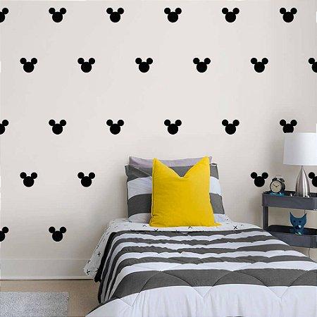 Kit 25 Adesivos de parede Mickey carinha tamanho 6x5cm - Cor Preta