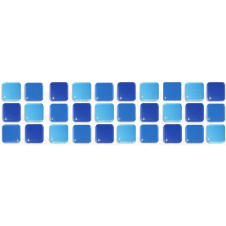 Pastilhas Adesiva Resinada, Faixa Tripla, Tons de Azul
