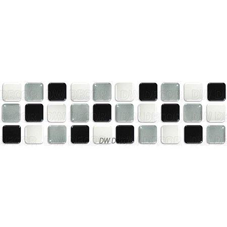 Pastilhas Adesiva Resinada, Faixa Tripla, Preto, Branco e Prata