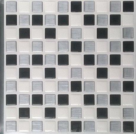 Pastilhas Adesiva Resinada, Placa 30cm, Preto, Branco e Prata Escovado