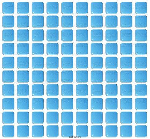 Pastilhas Adesiva Resinada, Placa de Cor única, Cor Azul Céu - Fundo Branco