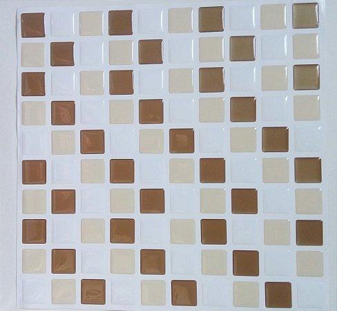 Pastilha Adesiva Resinada, Placa 30cm, Branco, Ouro e Bege