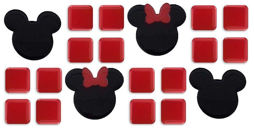 Pastilhas Adesivas Resinadas, Tema do Mickey, Faixa 24,8x12,20cm - Vermelho