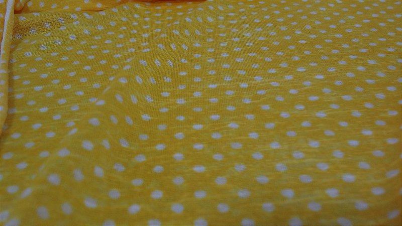 Tecido Malha Devorê de Poliéster Poa amarelo