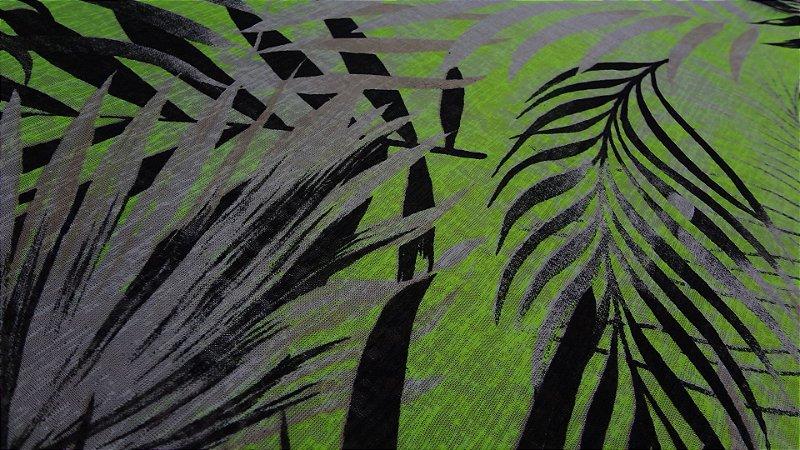 Tecido Malha Devorê de Poliéster Palm Tree