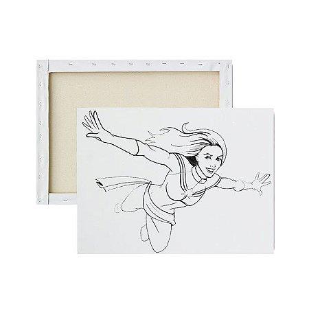 Tela para pintura infantil - Capitã Marvel indo à Luta