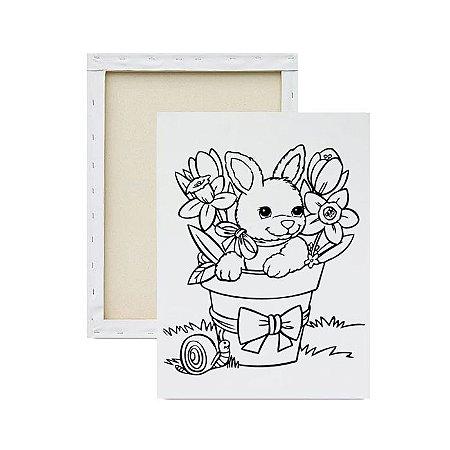 Tela para pintura infantil - Coelho da Páscoa Florido