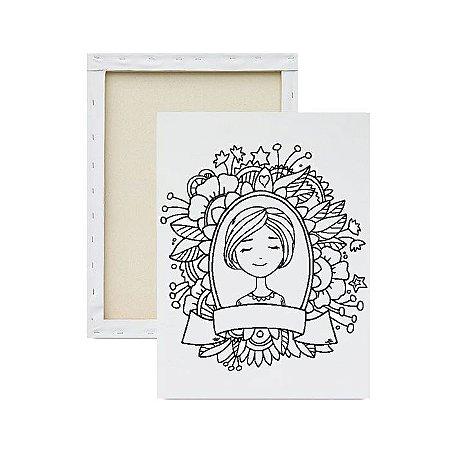 Tela Para Pintura Infantil - Mãe e suas Flores