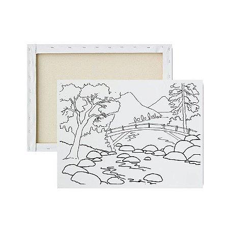 Tela Para Pintura Infantil - Montanhas e Ponte