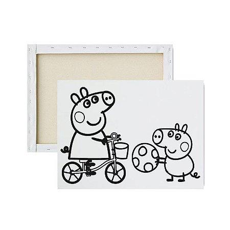 Tela Para Pintura Infantil - Peppa e Amigo