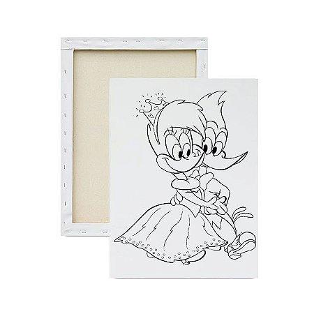 Tela Para Pintura Infantil - Pica-Pau e Princesa