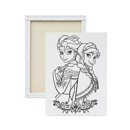 Tela para pintura infantil - Elsa e Anna Juntas