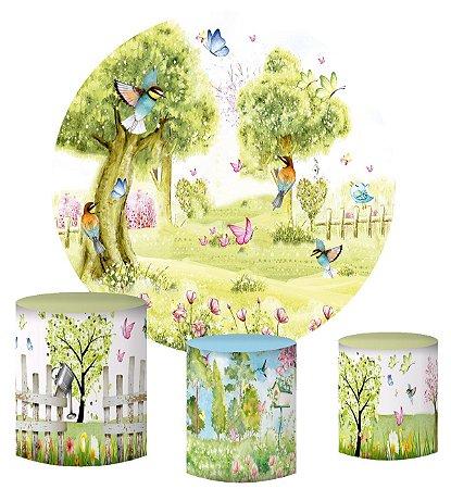 Kit Painel Redondo De Festa e Capas de Cilindro em tecido sublimado Jardim de Flores