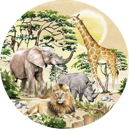 Painel de Festa Redondo em Tecido Sublimado Safari Selvagem c/elástico