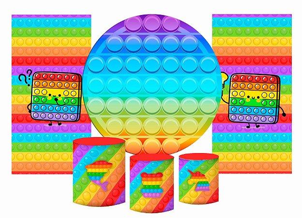 Super Kit Painel De Festa e Capas de Cilindro em tecido sublimado Fidget Toys