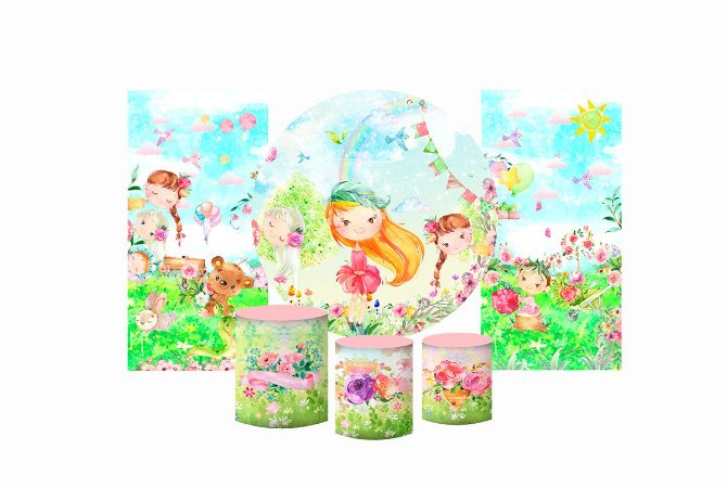 Super Kit Painel De Festa e Capas de Cilindro em tecido sublimado Jardim das Bonecas