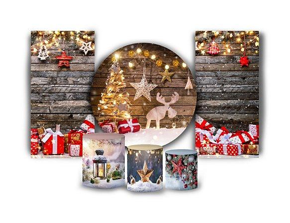 Super Kit Painel De Festa e Capas de Cilindro em tecido sublimado Natal
