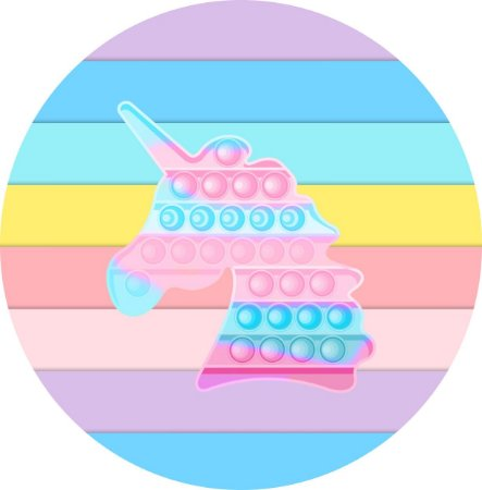 Painel de Festa Redondo em Tecido Sublimado Fidget Toys Unicórnio Candy c/elástico