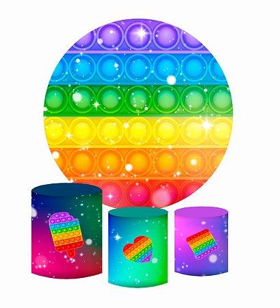 Kit Painel Redondo De Festa e Capas de Cilindro em tecido sublimado Fidget Toys Estrelinhas