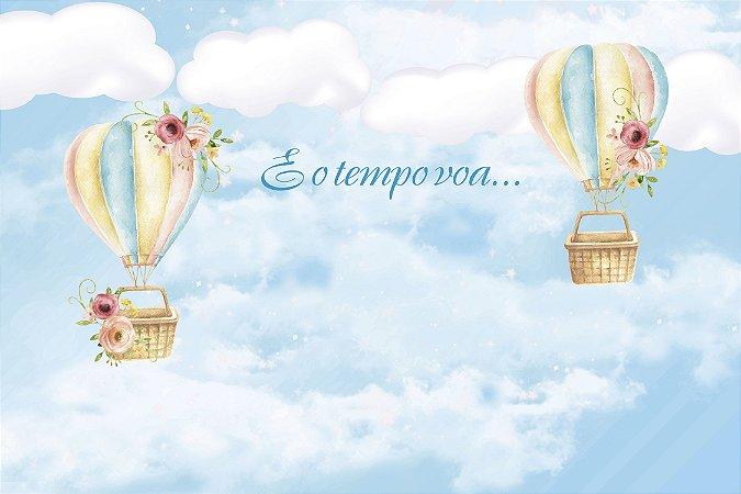 Painel de Festa em Tecido Sublimado 3d Balões e o Tempo Voa