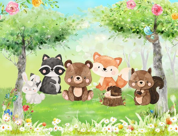 Painel de Festa em Tecido Sublimado 3d Bosque Florido dos Animais