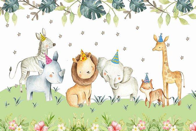 Painel de Festa em Tecido Sublimado 3d Safari Estrelado