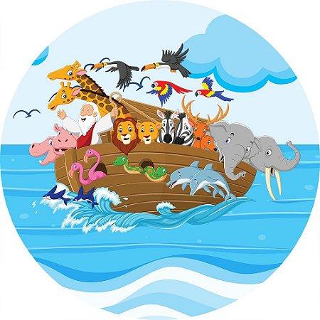 Painel de Festa Redondo em Tecido Sublimado Arca de Noé Mar c/elástico