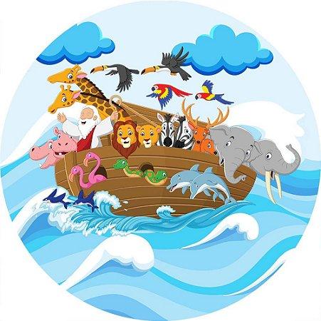 Painel de Festa Redondo em Tecido Sublimado Arca de Noé Ondas c/elástico