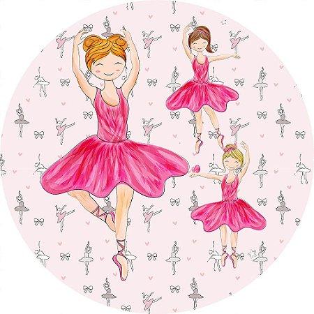 Painel de Festa Redondo em Tecido Sublimado Lindas Bailarinas c/elástico