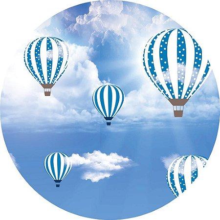 Painel de Festa Redondo em Tecido Sublimado Balões nas Nuvens c/elástico